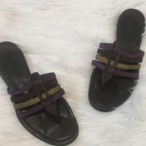 ☀️ PRADA Brown Purple leather Women Flat Sandals